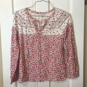 Long sleeve, red flower print shirt, NWT